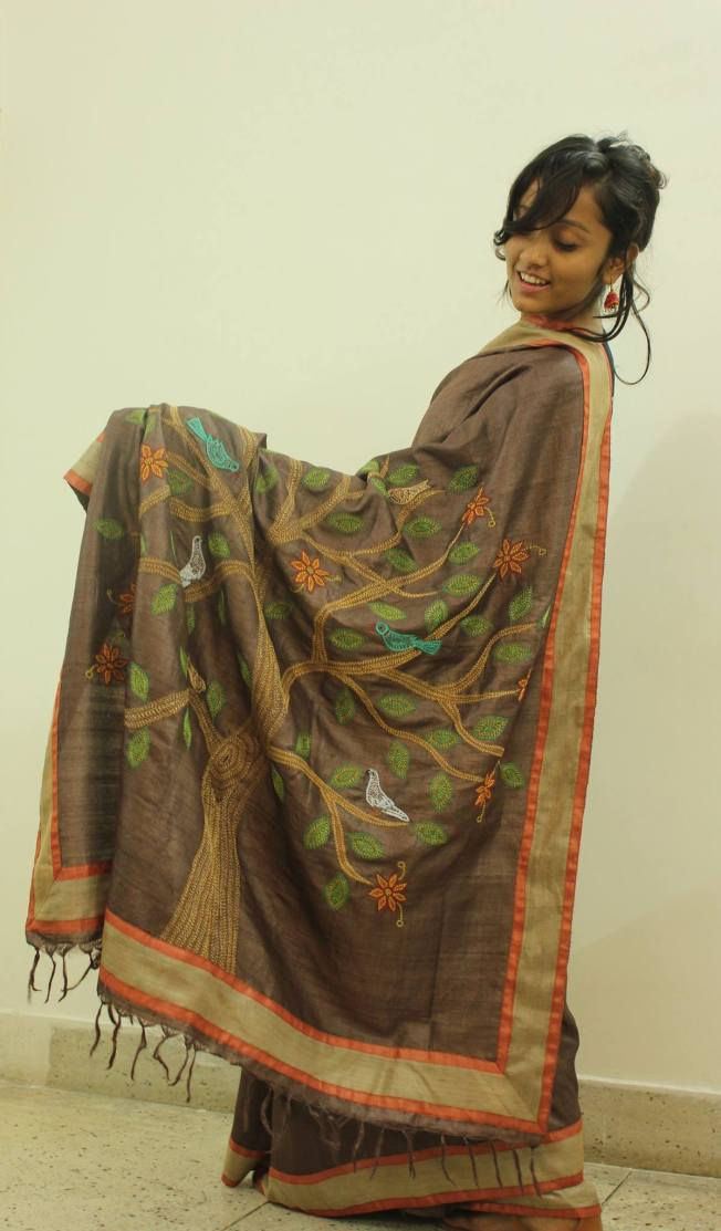 The famous 'tree of life' on a tasar saree...beautiful, indeed via