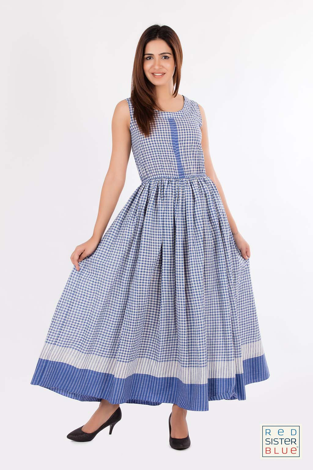 Khadi checkered maxi dress - Sold by Red Sister Blue