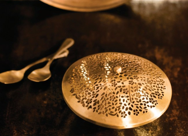 brass, metal, madeinindia, courtyard by aline, nut box, kitchenware, serveware, home