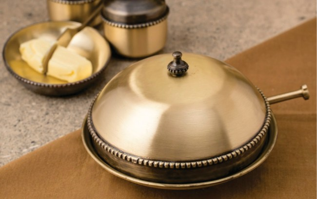 brass, metal, madeinindia, courtyard by aline, butter dish, kitchenware, serveware, home
