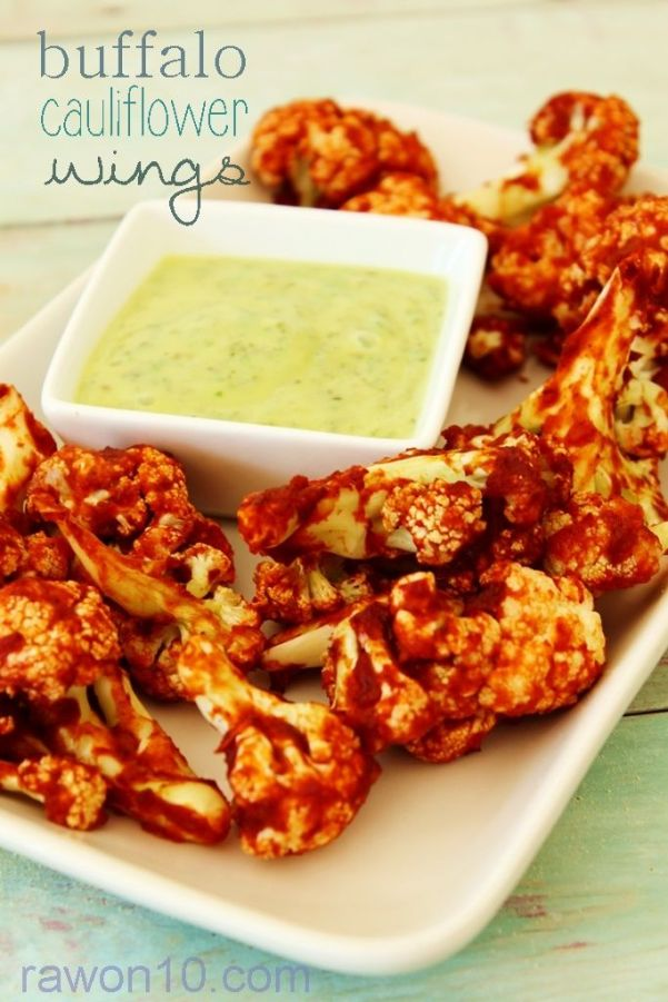Avocado dressing served with cauliflower 'wings' well raw, but roasted are great too via