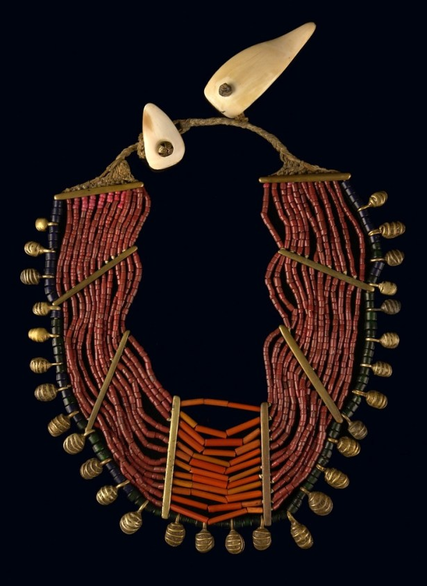 https://www.pinterest.com/pin/145522631681938570/ India | Necklace from Nagaland. Glass beads, brass spacers and bells, shells, on cotton fabric thead
