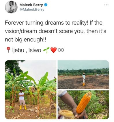 Maleek Berry Shares Photos of New Farm in Ogun State NotjustOK
