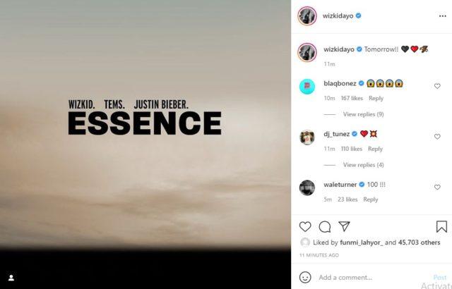 Wizkid Finally Confirms Justin Bieber on Essence Remix Details NotjustOK