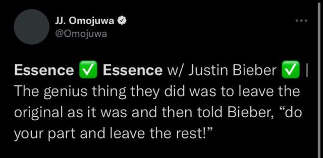 Reactions to Justin Bieber on Wizkid's Essence Remix Read Twitter NotjustOK
