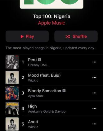 Fireboy Peru Wizkid Apple Music Chart