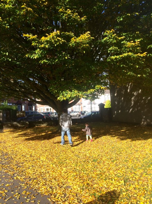 Colourful walk with daddy