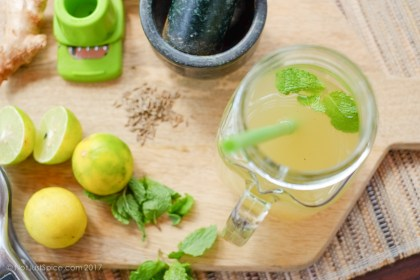 Refreshing Ginger, Mint and Cumin Limeade on notjustspice.com