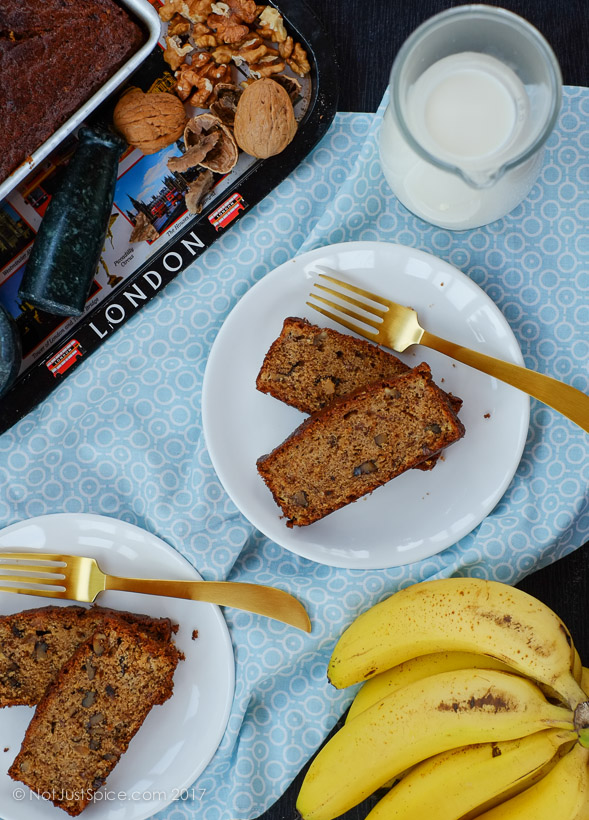 Scrummy Moist Classic Banana Walnut Loaf on notjustspice.com