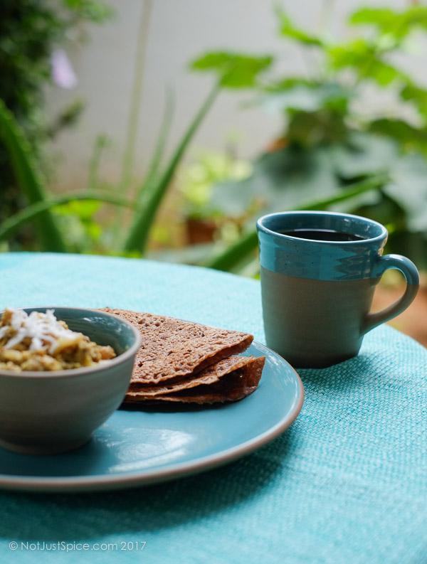 Quick Finger Millet Wheat Dosa   Ragi Wheat Dosa   Kezhvaragu Godumai Dosai on notjustspice.com