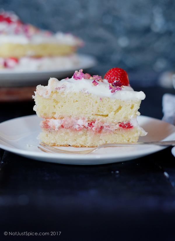 Strawberry Rose Jammy Cake with Rose Cream Filling on notjustspice.com