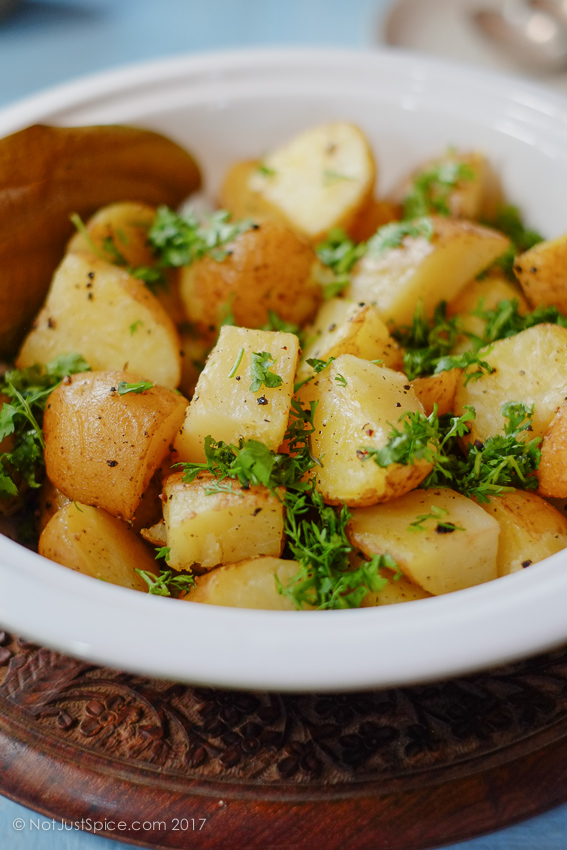 5-Ingredient Indian Style Roast Potatoes on notjustspice.com