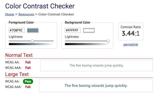 A failing color contrast check using the WebAIM contrast checker.