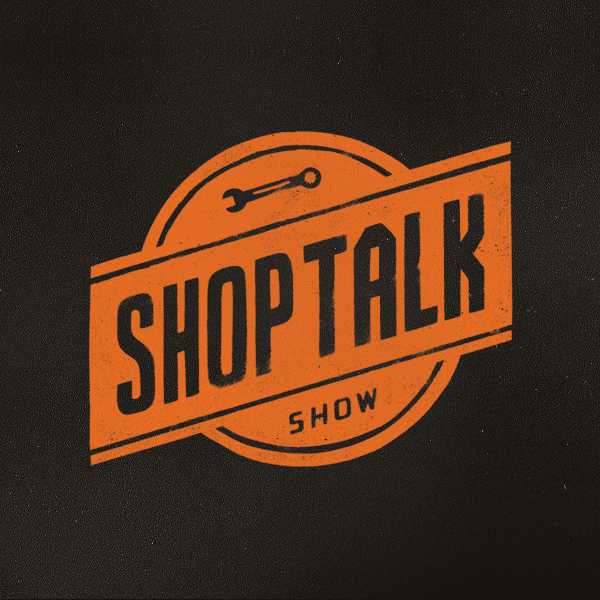 Black and orange, circular logo for the Shoptalk Show podcast