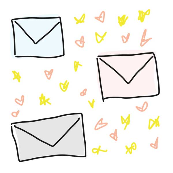Drawing of different colored envelopes surrounded by stars and hearts