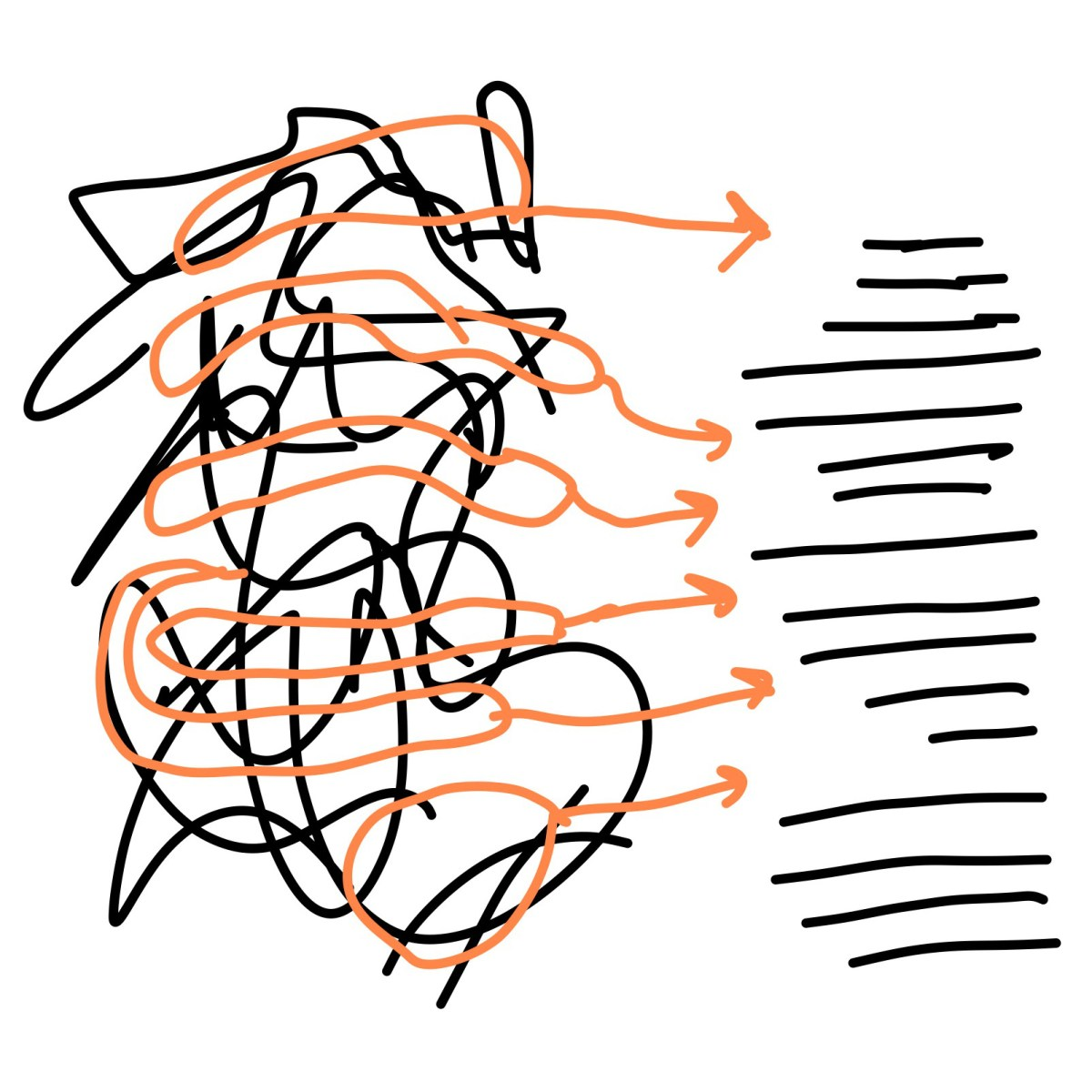 Scribbles turning into ordered lines