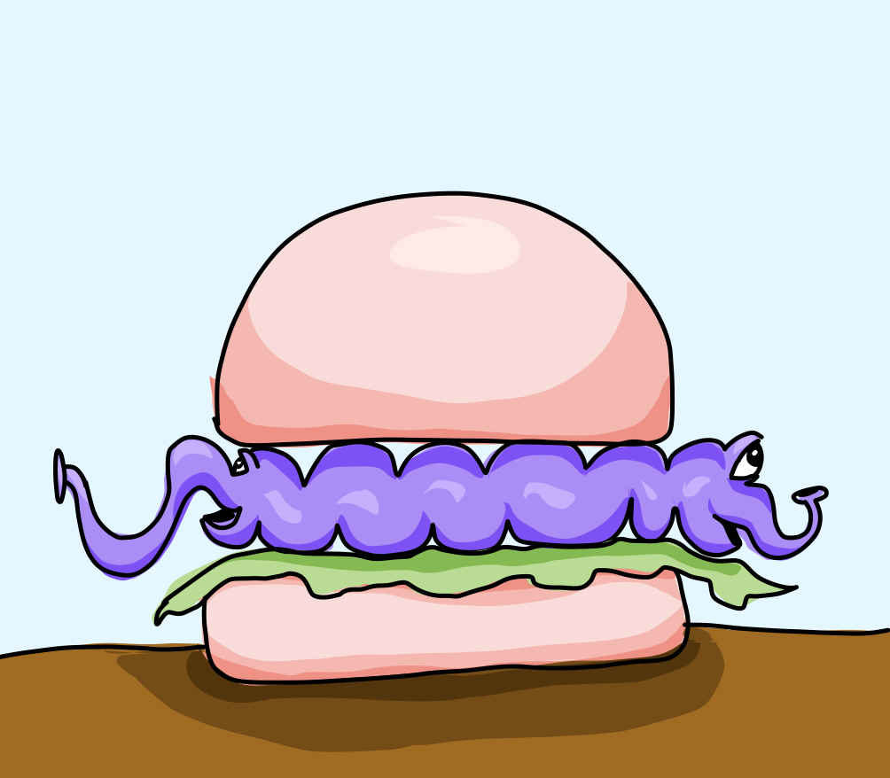 A purple worm-like monster with eyes and nose at either end inside burger buns with some lettuce