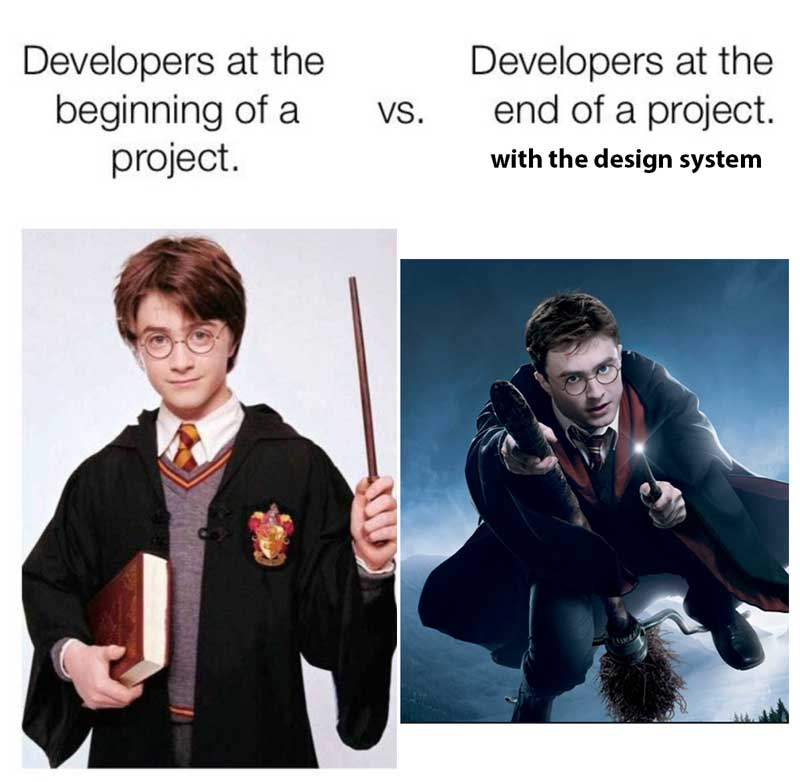 Young harry potter with a wand, ready to learn on the right; older harry potter flying a broomstick and looking ready to fight on the left.