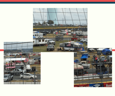 Photos displaying confederate flags at the Bank of America 500