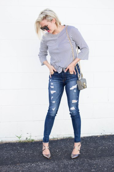 Grey_Knot_Top_Denim_Ripped_Jeans_Metallic_Heels