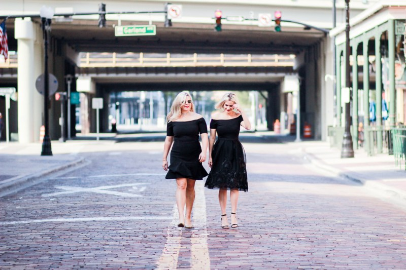 Not-Necessarily-Blonde-Black-Holiday-dress-off-the-shoulder-Nordstrom