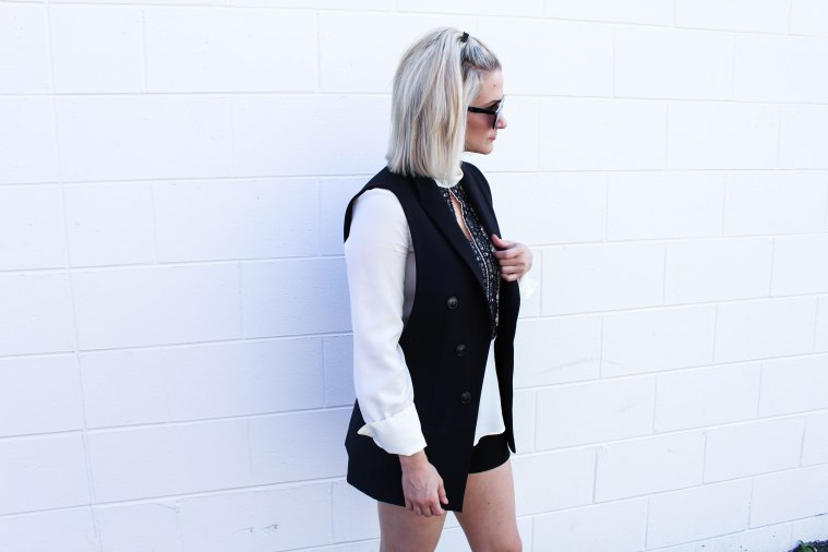 Chelsey From Lifestyle Blog Not Necessarily Blonde black long vest