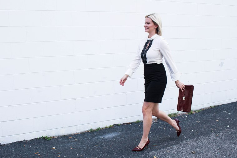 Chelsey Not Necessarily Blonde White and black peplum top with black skirt