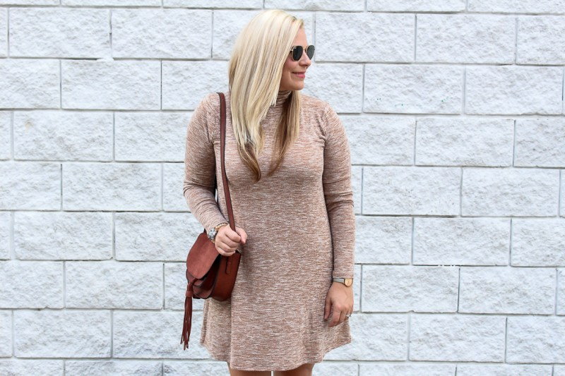 Wearing a soft Forever21 Turtleneck camel dress