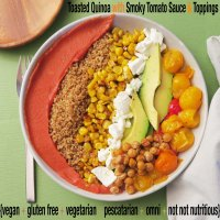 Toasted Quinoa with Smoky Tomato Sauce and Toppings {Menu 3: Don't Fritter it Away}
