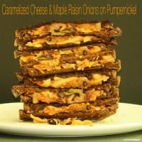 Caramelized Cheese & Maple Raisin Onions on Pumpernickel
