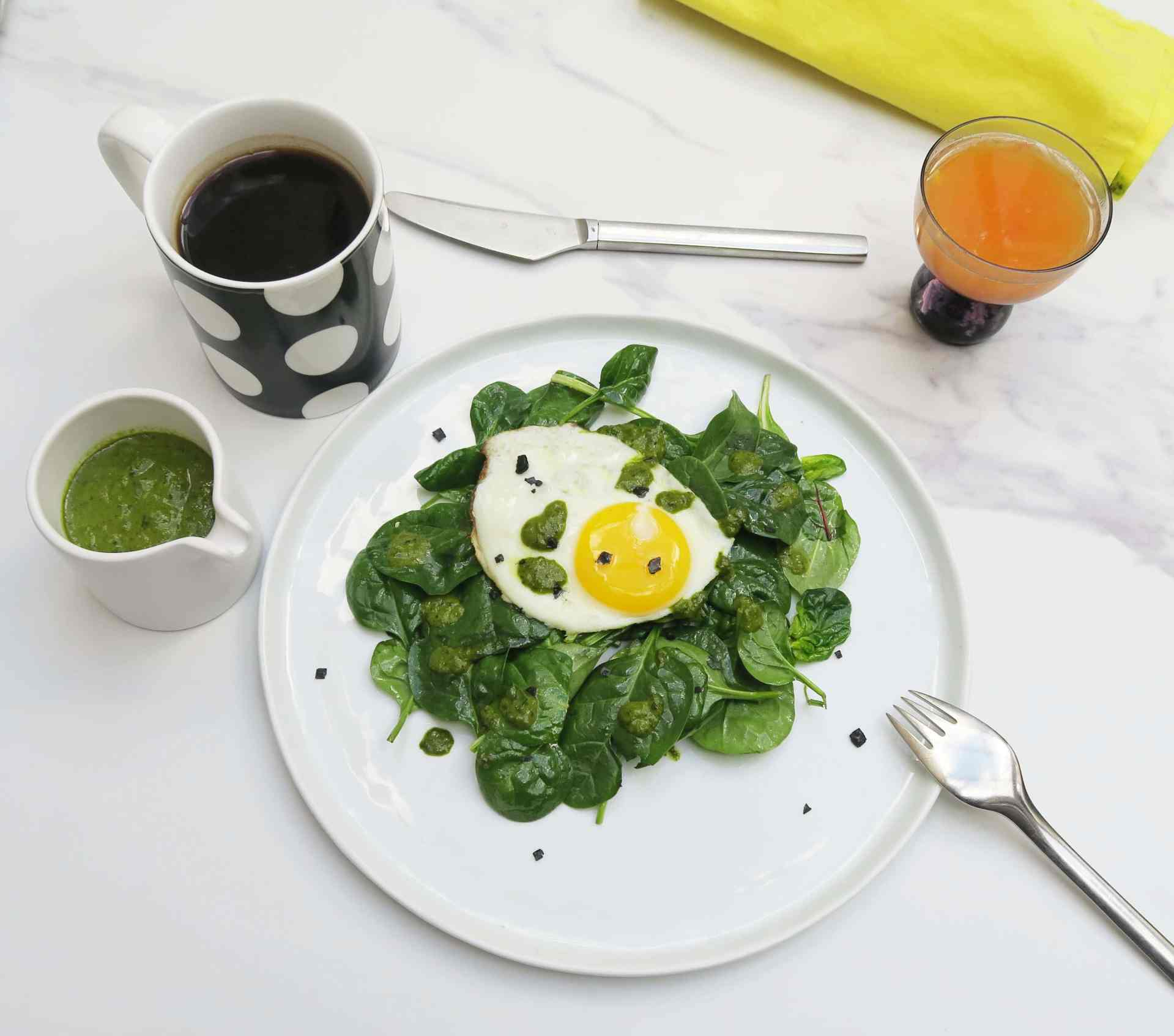 Baby Greens Breakfast Salad with Fried Egg and Herbal Overdose Dressing
