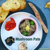 Easy Mushroom Pate, flavoured with lemon zest, garlic, and olives. Easily made vegan or vegetarian.