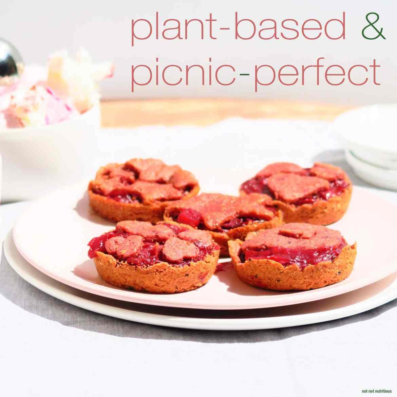 Rhubarb Tarts, made with beetroot powder. Easily made vegan or vegetarian.