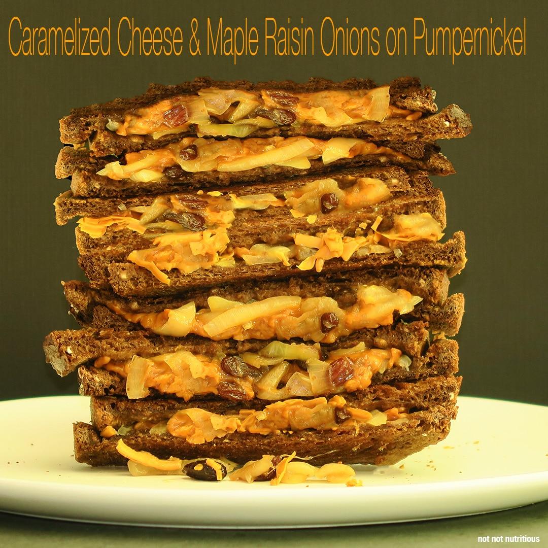 Gjetost Cheese & Maple Raisin Onions on Pumpernickel