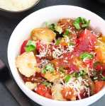 Bread and Tomato Salad with heirloom tomatoes and fresh basil