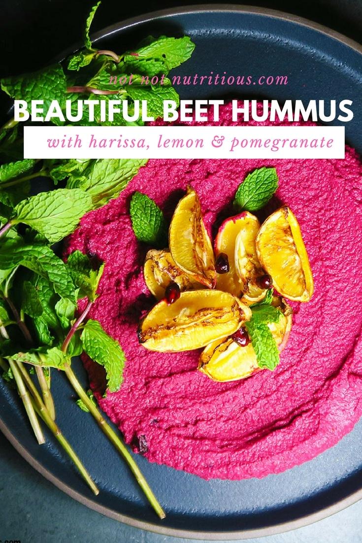Beautiful Beet Hummus with Harissa, Lemon, and Pomegranate Seeds