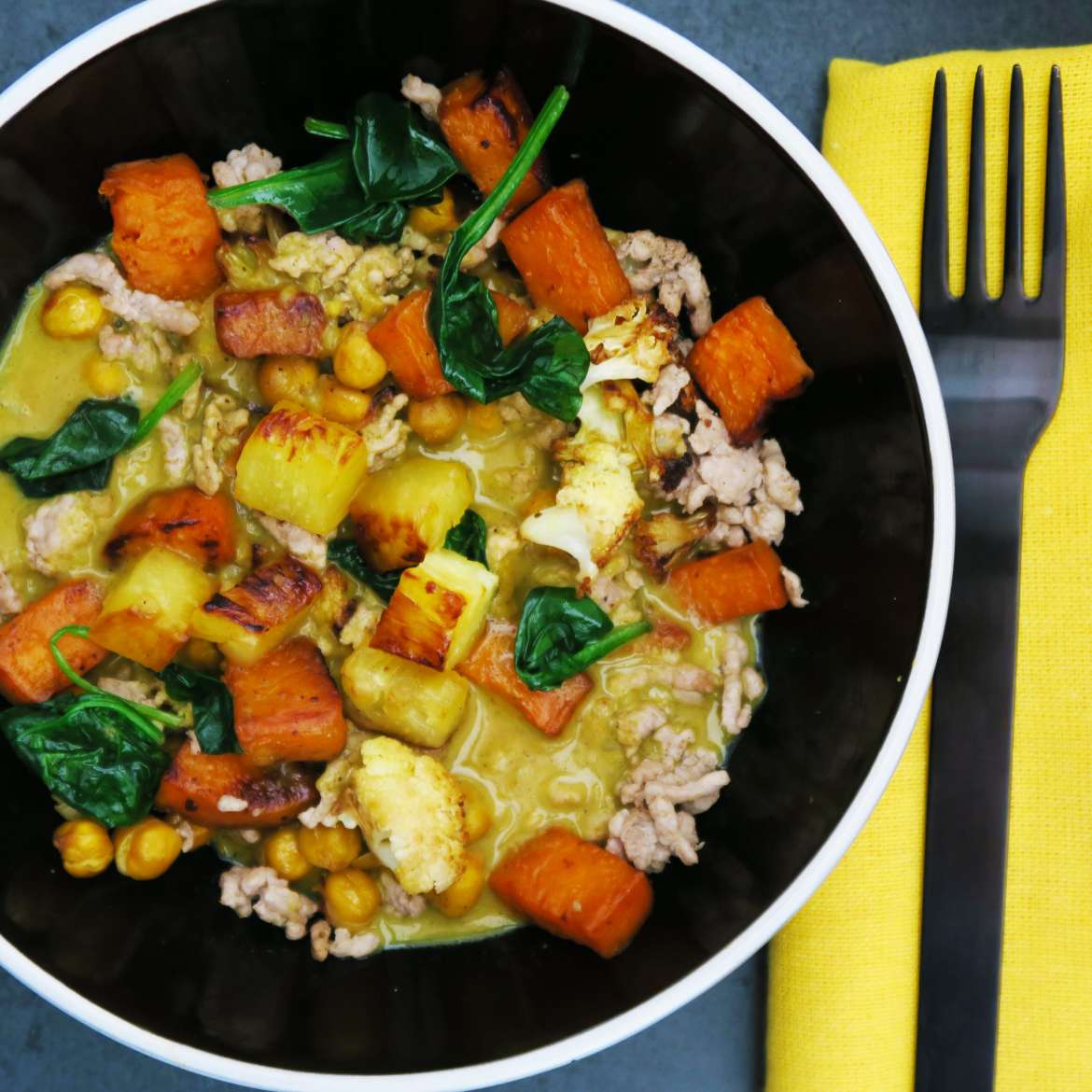 Roasted Veggies with Curry Cream Sauce - Omnivore Version with Pork