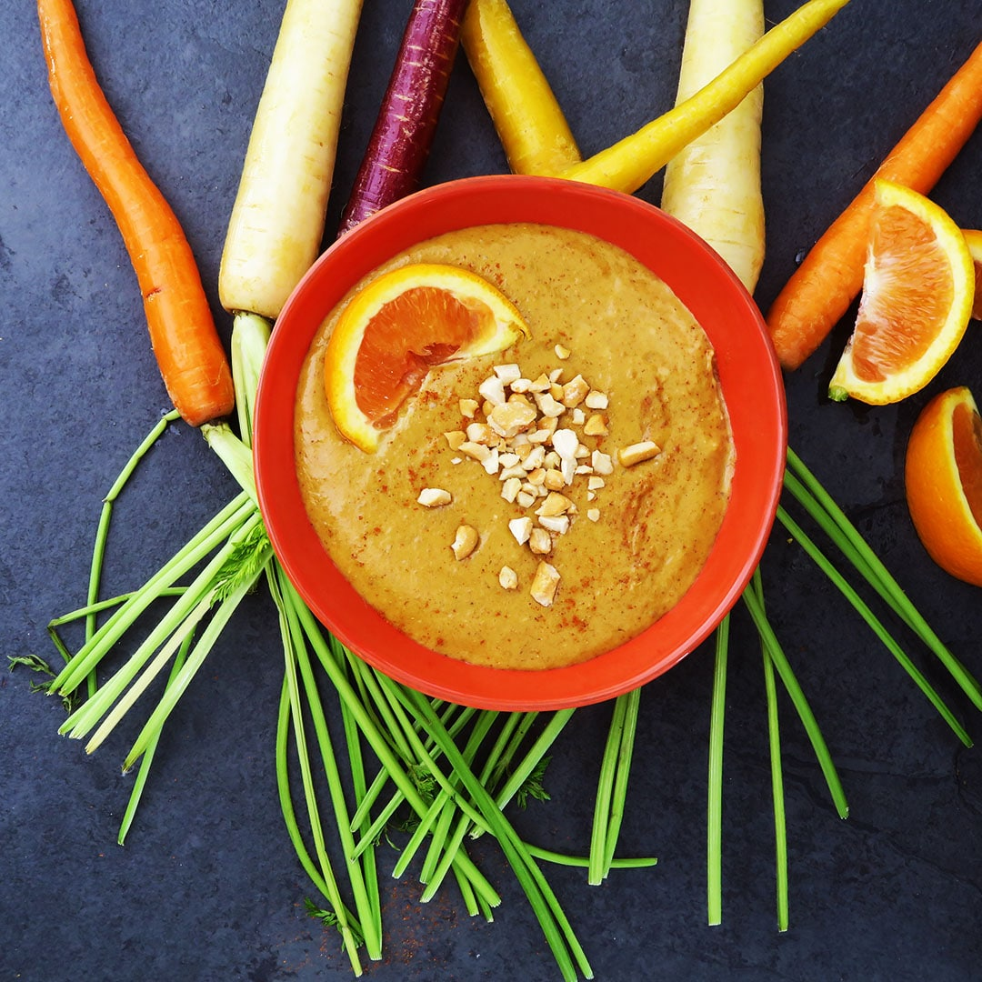 Spicy Orange Cashew Dressing/Dip with Rainbow Carrots