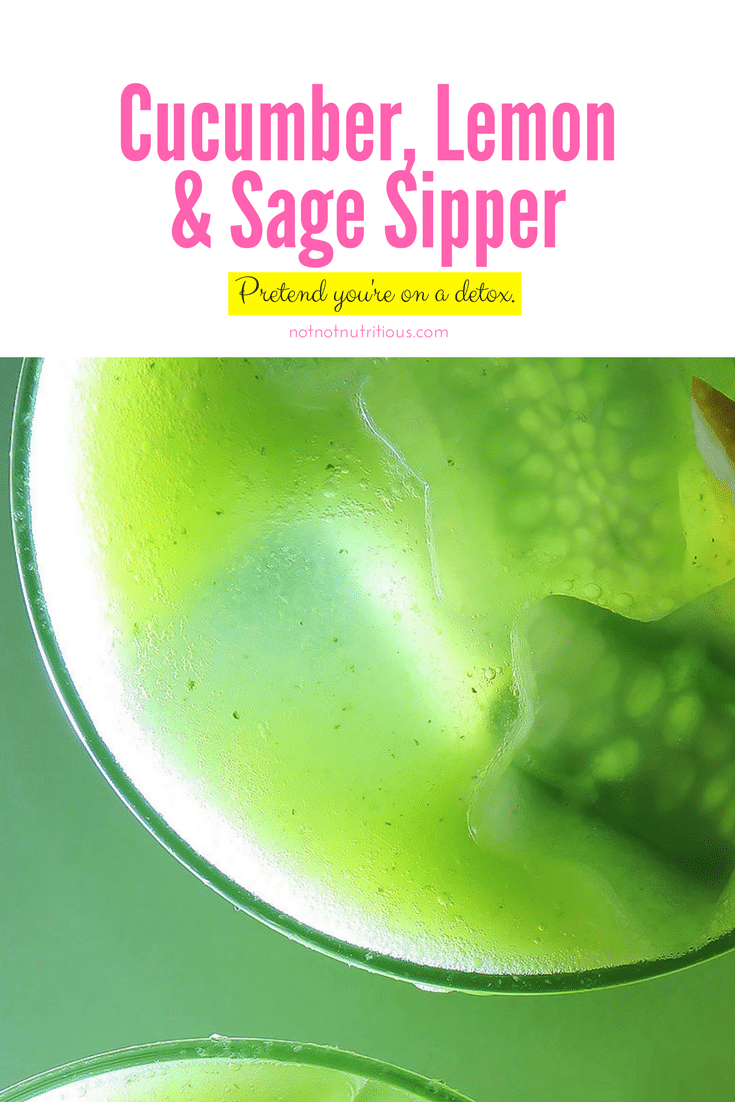 Cucumber, Sage, and Lemon Sipper. A light and refreshing non-alcoholic drink recipe.