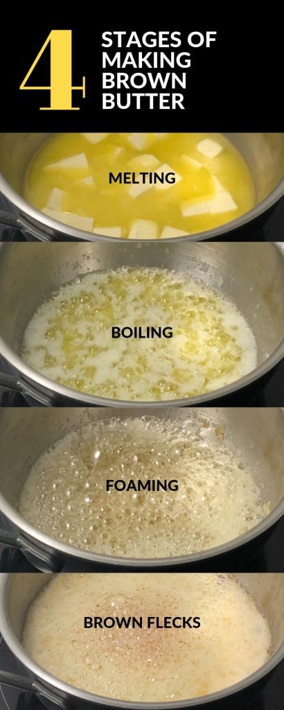 Four images showing the various stages of cooking brown butter in a saucepan. From cubed butter, to melted butter, to butter boiling, then beginning to foam, foaming with brown flecks and then done.