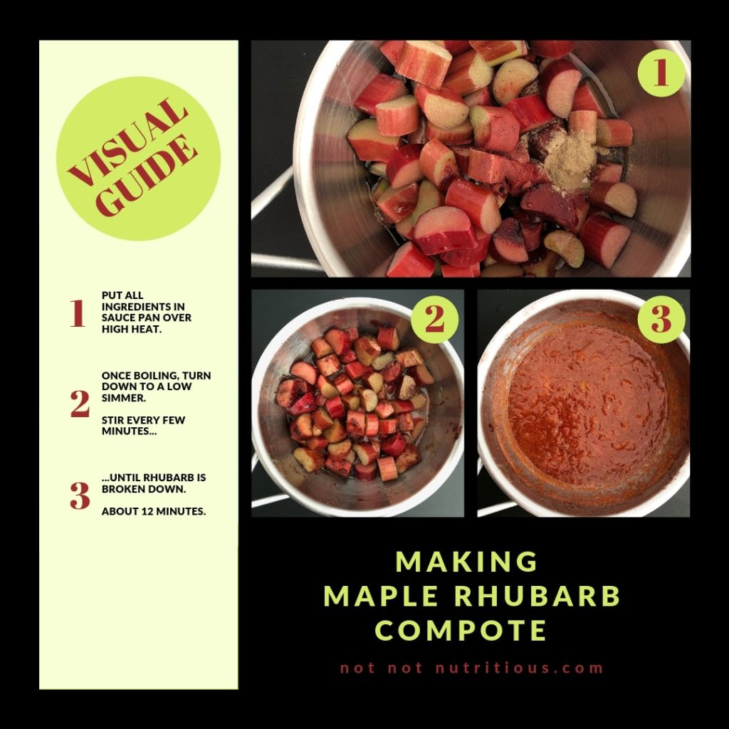 Graphic titled Visual Guide: Making Maple Rhubarb Compote. Image 1 shows chopped rhubarb, maple syrup, and cardamom in a saucepan and the text reads: Put all ingredients in a sauce pan over high heat. Step 2 shows an image of the rhubarb ingredients boiling and the text reads:  Once boiling, turn down to a low simmer. Stir every few minutes... Step 3 reads: ...until rhubarb is broken down. About 12 minutes. Step 3 image shows the finished maple rhubarb compote in the saucepan.