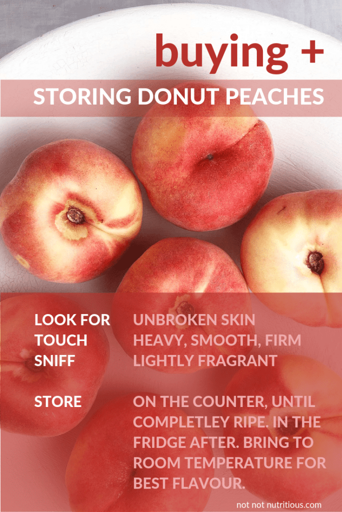 "Graphic titled ""Buying and Storing Donut Peaches. Image shows top-down shot of white bowl of donut peaches. Text reads: Look for unbroken skin, Touch: Heavy, Smooth, Firm, Sniff: Lightly fragrant. Store: On the counter, until completely ripe. In the fridge after. Bring to room temperature for best flavour."