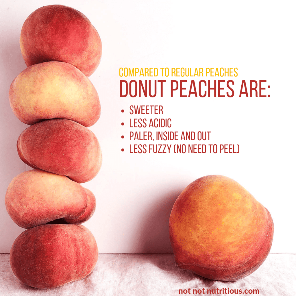 Graphic showing a stack of donut peaches compared to single regular peach. Text reads: Compared to regular peaches, donut peaches are: sweeter, less acidic, less fuzzy (no need to peel)