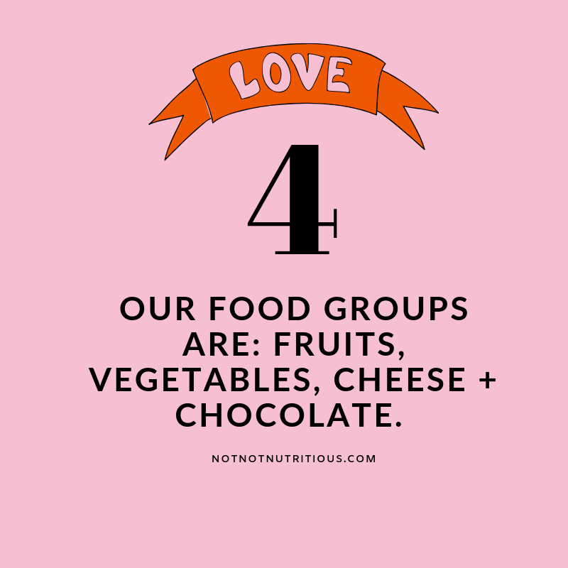 Text reads: 4 - Our food groups are: fruit, vegetables, cheese + chocolate.  notnotnutritious.com. Red banner above the text: Love
