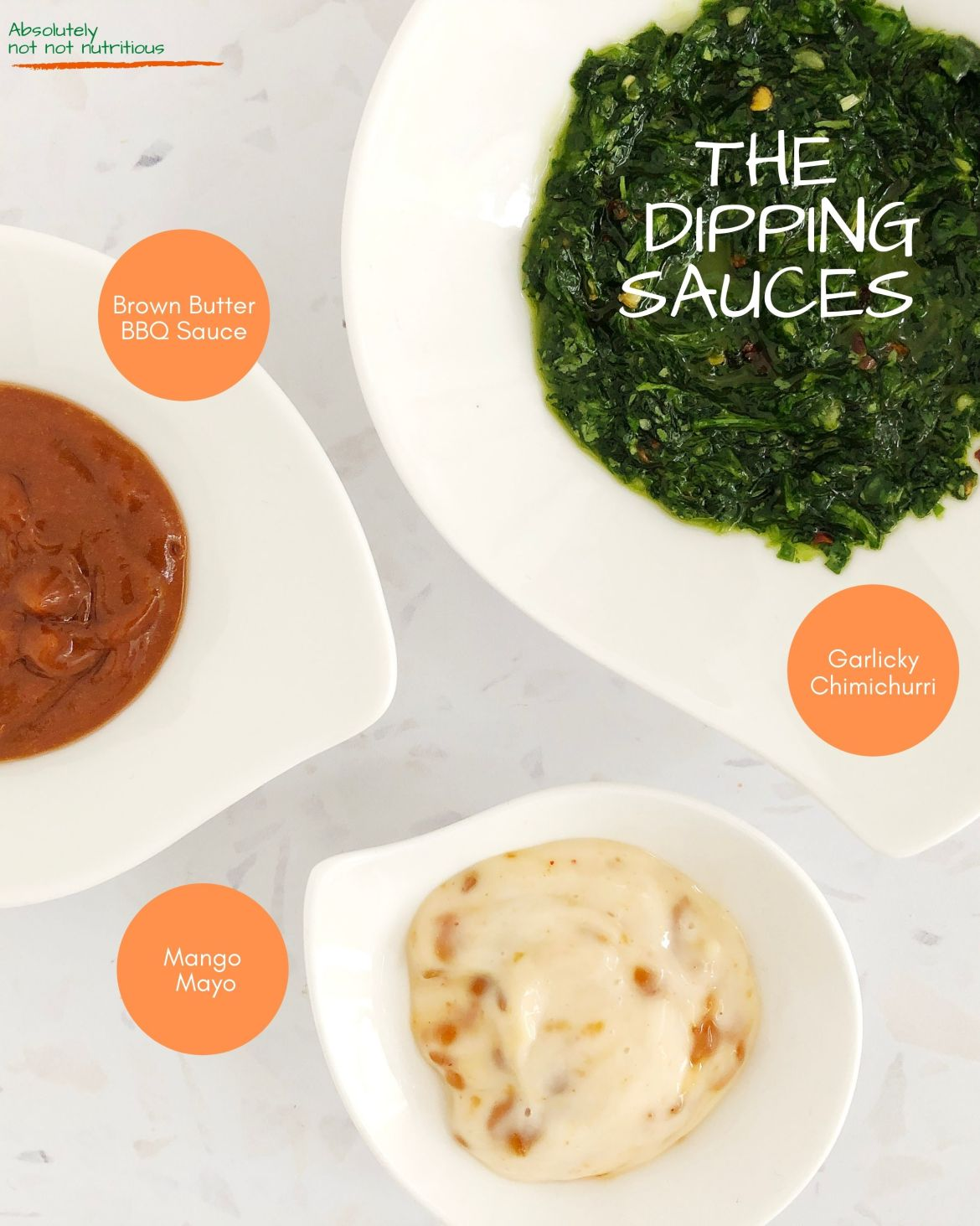 Infographic titled: The Dipping Sauces, showing top-down view of the sauces for the Beyond Meat Grazing Platter: Garlicky Chimichurri, Mango Mayonnaise, and Brown Butter Barbecue Sauce.