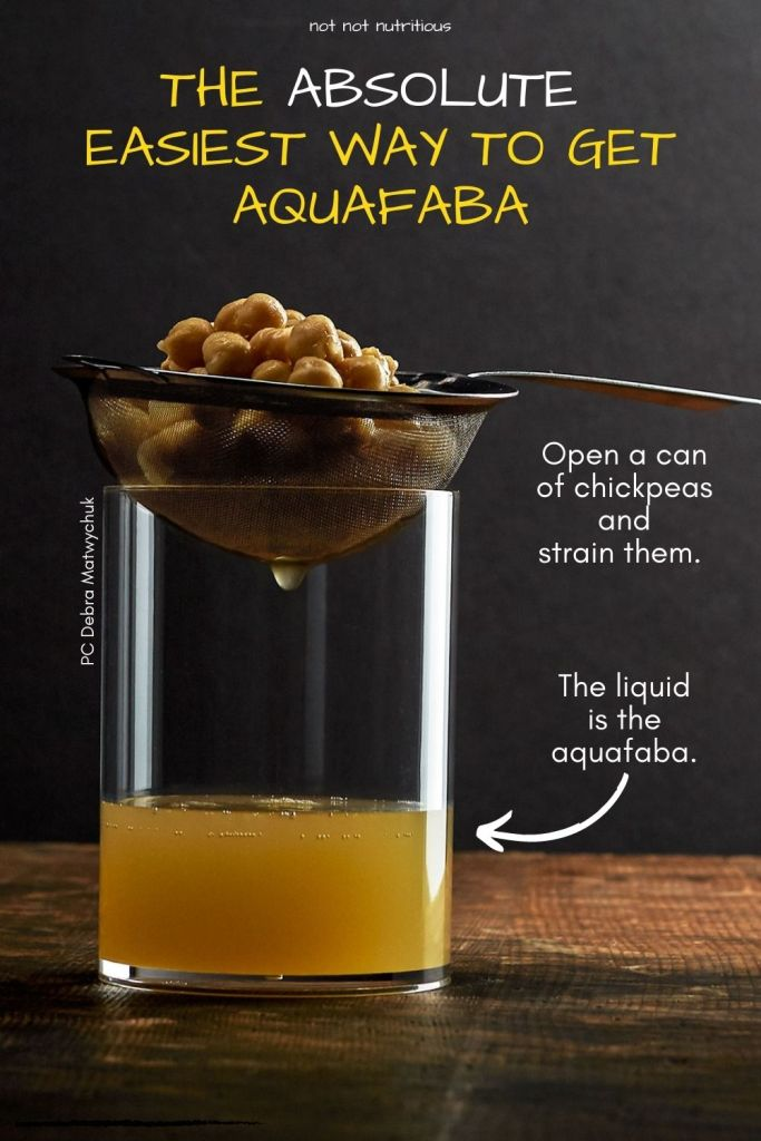 Infographic, with text reading: The absolute easiest way to get aquafaba. Image shows a strainer with canned chickpeas and the liquid remaining. The liquid is the aquafaba.