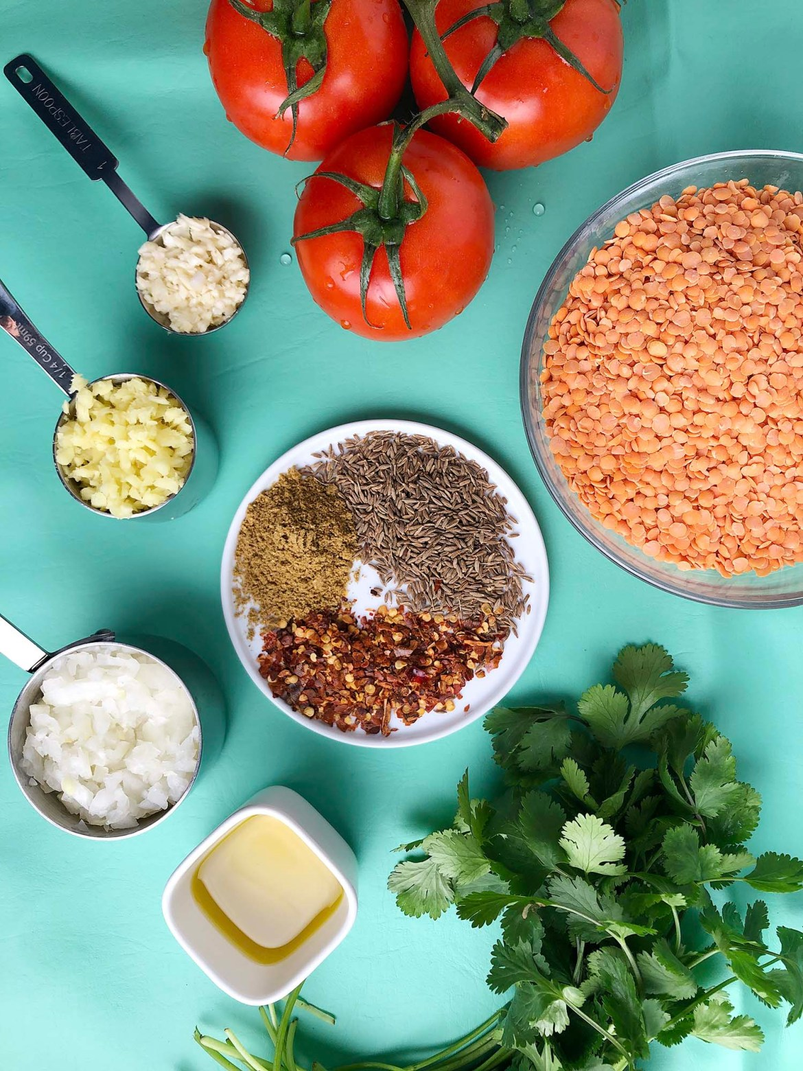 Top-down shot of ingredients in 1-Pot Red Lentils (Dal). Clockwise from the top: tomatoes, red lentils, fresh cilantro, olive oil, diced onion in a measuring cup, diced ginger in a measuring cup, diced garlic in a tablespoon, a white plate with dried spices: cumin seeds, red pepper flakes, coriander powder.