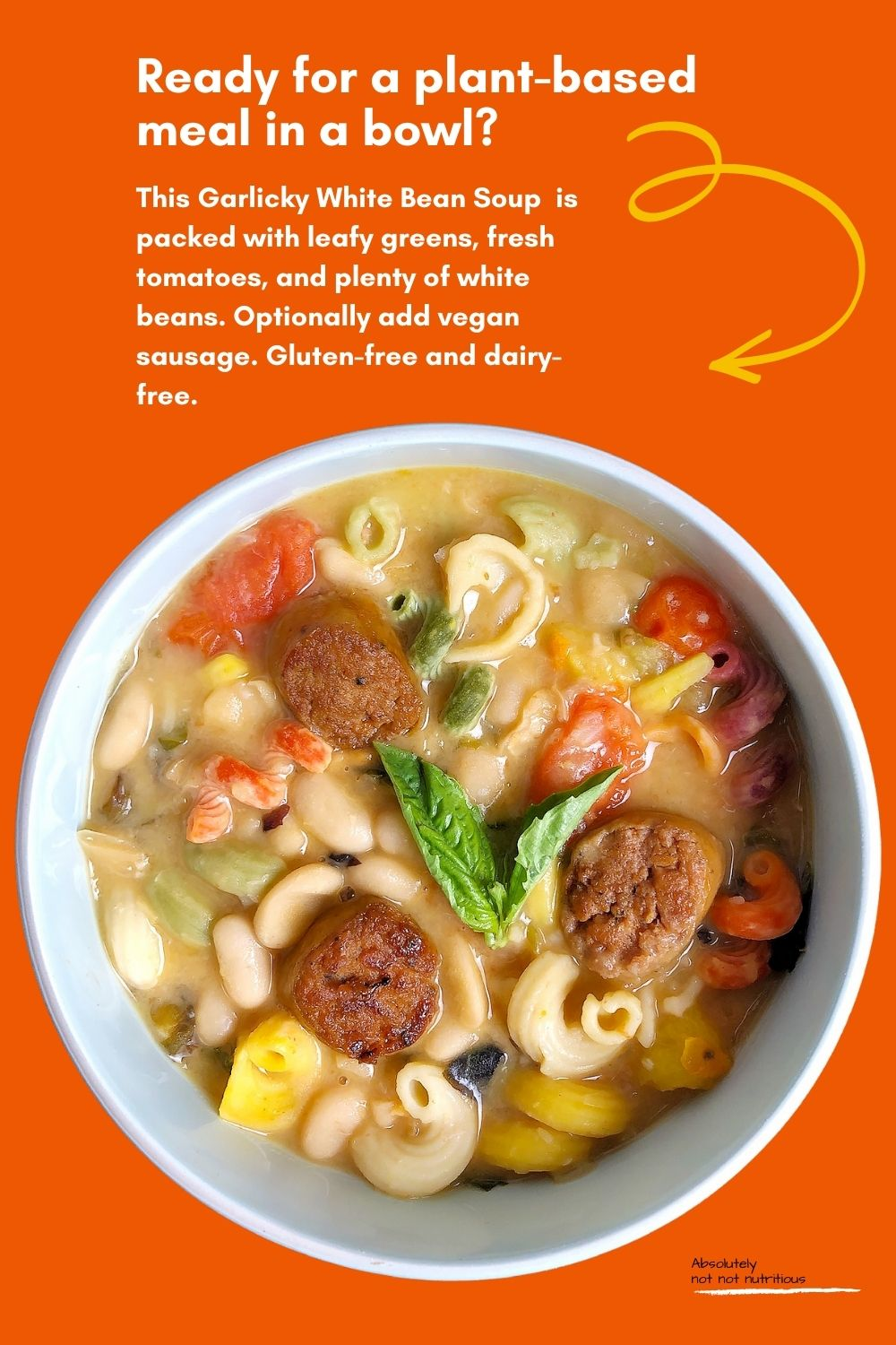 Top-down view of a soup bowl against a dark orange background. Soup is made from white beans, garlic, cherry tomatoes, leafy greens, pasta, and vegetable broth. Soup is garnished with a sprig of basil. Text on bottom right corner of image reads Absolutely not not nutritious