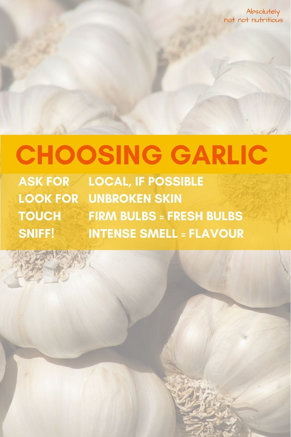 Graphic with multiple heads of garlic. Text reads: Choosing Garlic. Ask for local, if possible. Look for unbroken skin. Touch. Firm bulbs = fresh bulbs. Sniff! Intense smell = intense flavour.