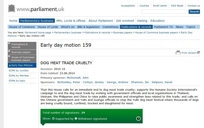 Ask you MP to sign EDM 159 DOG MEAT TRADE CRUELTY